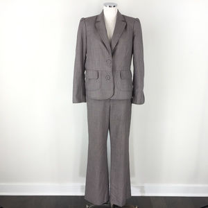 Anne Klein 10 brown Wool blend Pant Suit Career